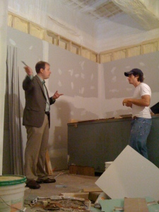Chris and Ethan (from Best Built Construction) talking the future Conference Room.